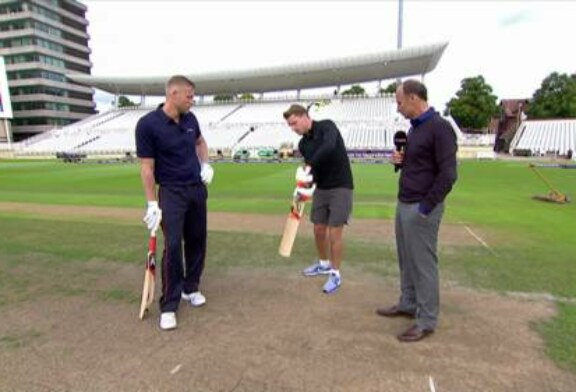 Jos Buttler takes on Andrew Flintoff in a six-hitting competition