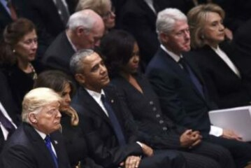 Trumps get frosty reception from Obamas, Clintons at George H.W. Bush funeral